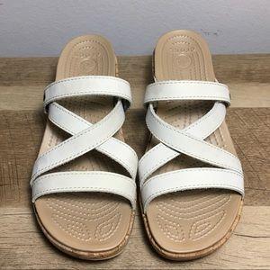 261923e70476 CROCS Shoes - Crocs A-Leigh Mini Wedge Leather Stucco Cork Sz 6